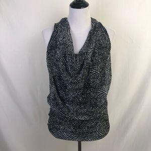 Weston Wear black and white drape neck blouse